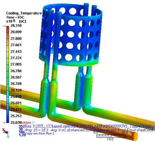 Расчет 3D-течения хладагента в охлаждающих каналах сложной геометрии: температура хладагента