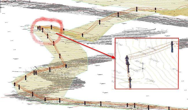 Трехмерная модель ЛЭП. Расстановка опор в 3D