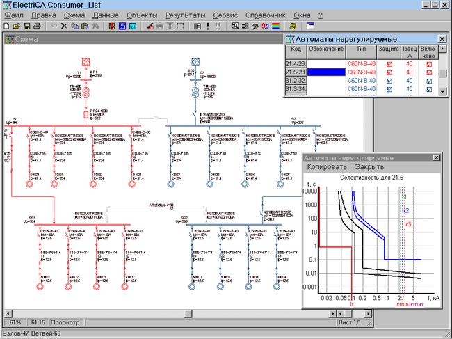 Схема распределительной сети переменного тока