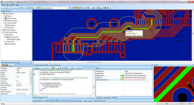Цветовая индикация о несоблюдении зазора между проводником и переходным отверстием и текстовое окно