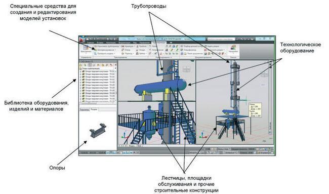 Проектируйте всю модель установки в Model Studio CS Трубопроводы