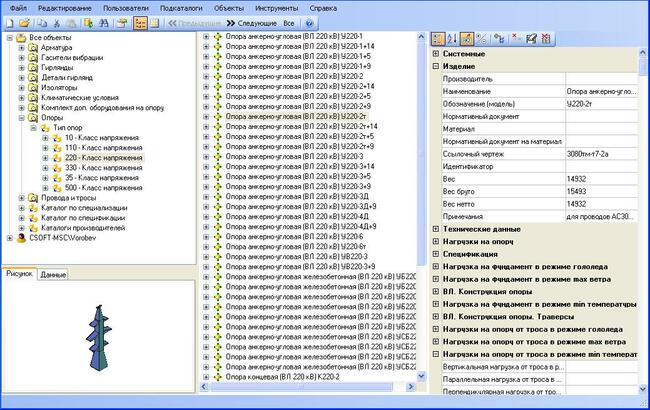 Рис.2. Уникальная база данных оборудования и материалов