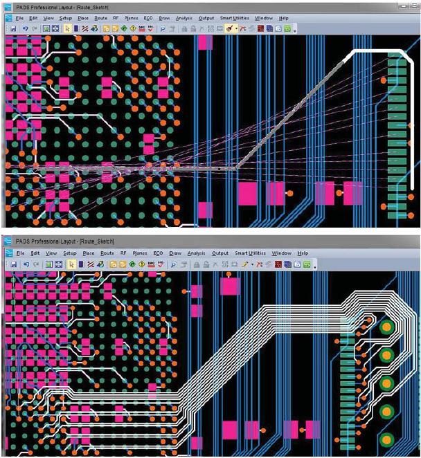 Демонстрация на нижней иллюстрации работы трассировщика по новой эффективной технологии маршрутизации по эскизам связей, представленным на верхней иллюстрации