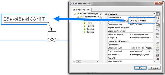 Текст обозначения формируется автоматически из значений параметров оборудования