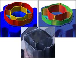 Результаты моделирования с «жесткой» (слева) и«совместной» задачей (справа) в сравнении с экспериментом (в центре)